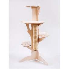 PULL SCRATCH CATS GYM DESIGN TREE WITH LEAVES WOOD HOME FURNITURE